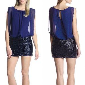 Aidan Mattox Blue Sequin Skirt Blouson Party Dress